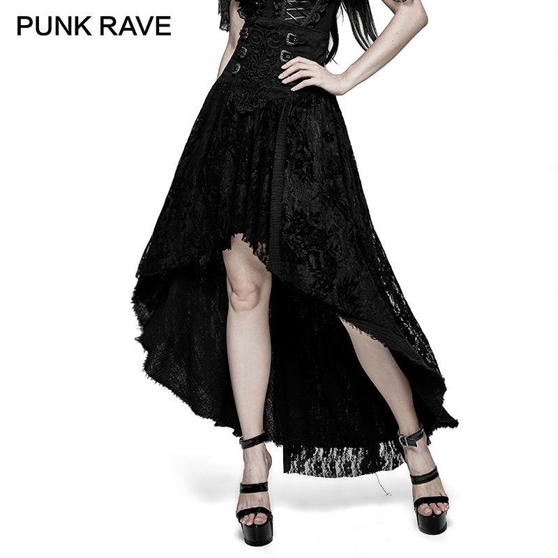PUNK RAVE Gothic Fancy Palace Black High Waist Lace Flower Skirt Embroidery Asymmetrical Lolita Evening Party