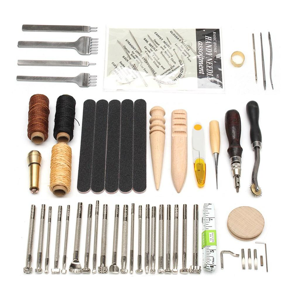 59PCS Leather Craft Hand Tools Kit Thread Awl Waxed Thimble Kit For Hand Stitching Sewing Stamping DIY Tool Set
