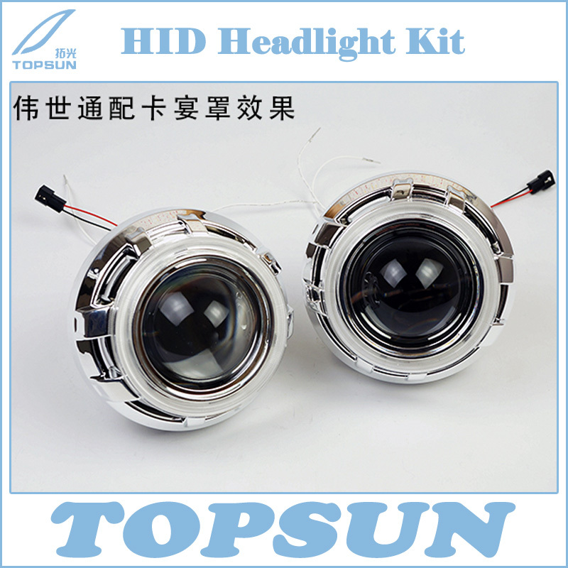 ФОТО GZTOPHID Car Styling LHD/ RHD Retrofit 3 inch CCFL Angel Eyes Halo HID Bi-Xenon Projector Lens Headlight With Cover Kit  H1