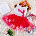 Los niños Ropa de Verano Para Niños Baby Girls Colorido Pétalo Vestidos de Princesa Del Partido Del Vestido Del Tutú de Tul de Encaje Arco