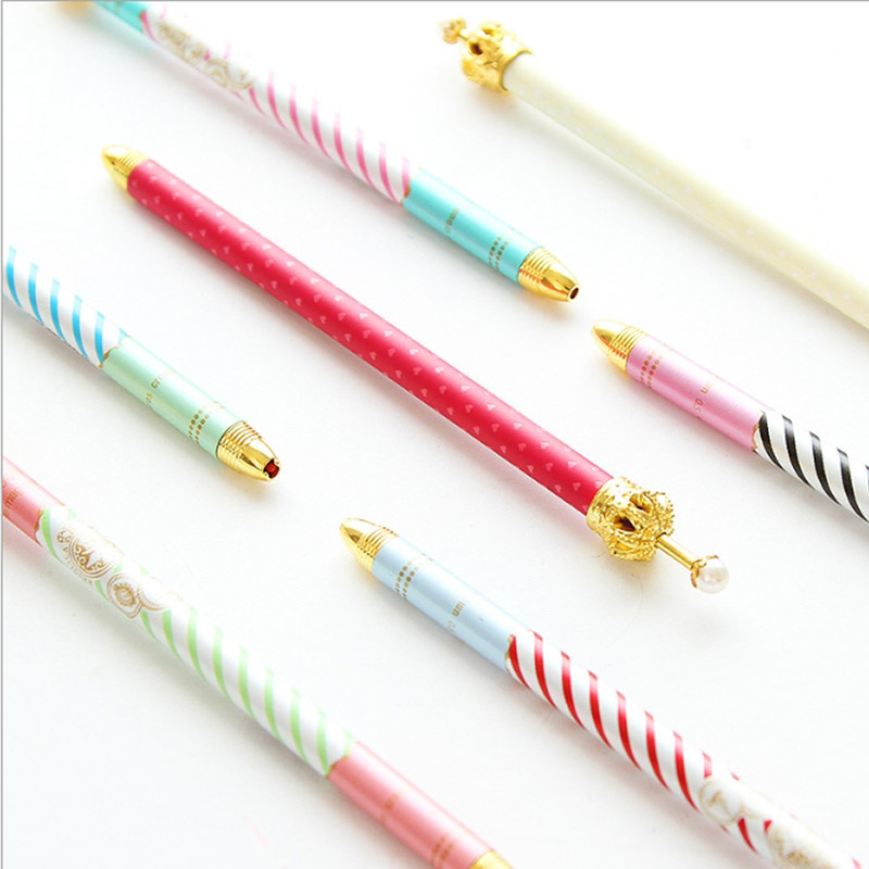 F46 4X Kawaii Cute Metal Crown Gel Pen Decor School Office Supply Student Prize Gift Stationery Signing Pen