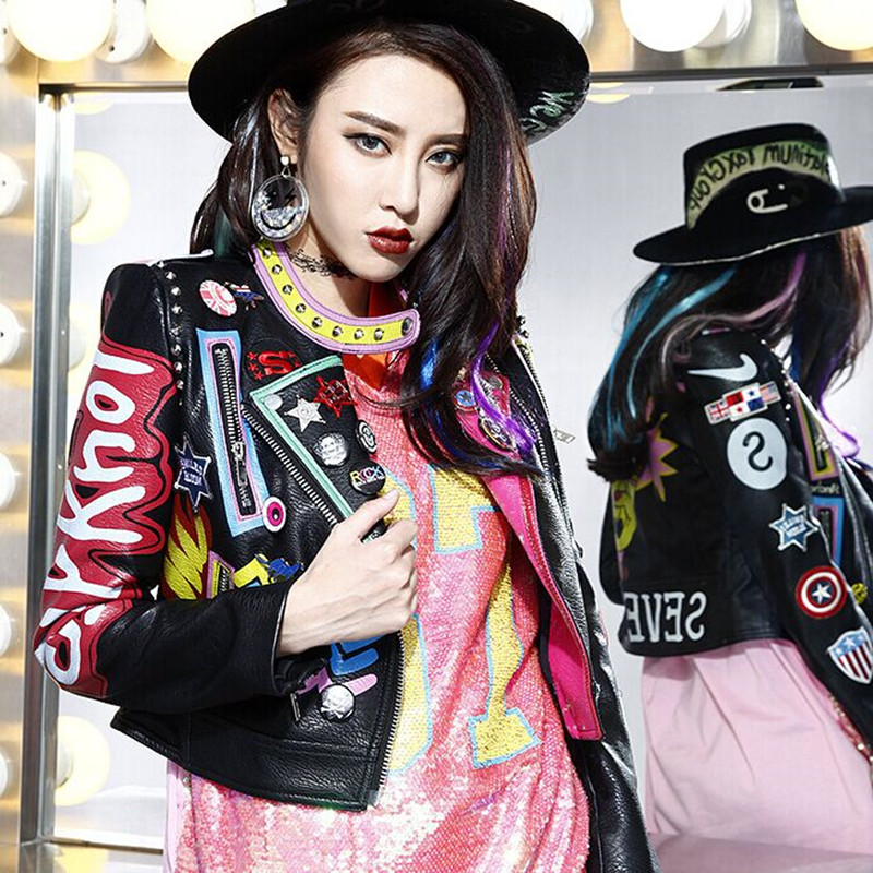 Autumn Women Punk Heavy Metal Short   Leather   Jacket Black Zipper Rivet Long Sleeve plus size Motorcycle Graffiti printing PU Coat