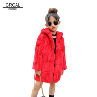 CROAL CHERIE 100 160cm Winter Real Rabbit Fur Coat For Teenager Girls Winter Jacket Baby Clothing For Children Red White