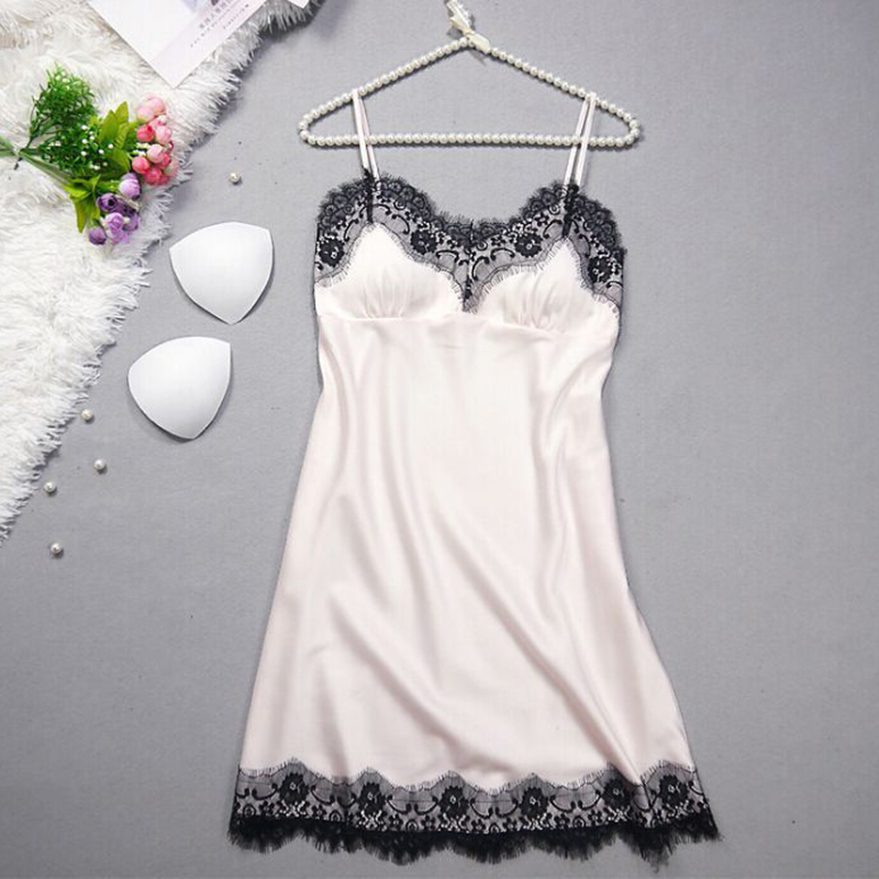 Women's Sleeveless Suspender Lace   Nightgowns   Solid Color Lounge Summer Sleepwear Silk V-Neck Sexy   Sleepshirts   Hot Sale