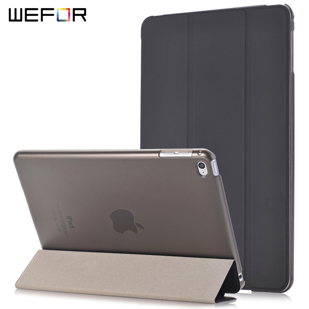 For iPad Mini 4 Case Ultra Slim Smart Shell Auto Wake/Sleep Lightweight Trifold Folding Transparent Back Stand For iPad Mini4 smart case for ipad mini 4 case transformer folding with stand slim pu leather transparent back cover for ipad mini4 7 9