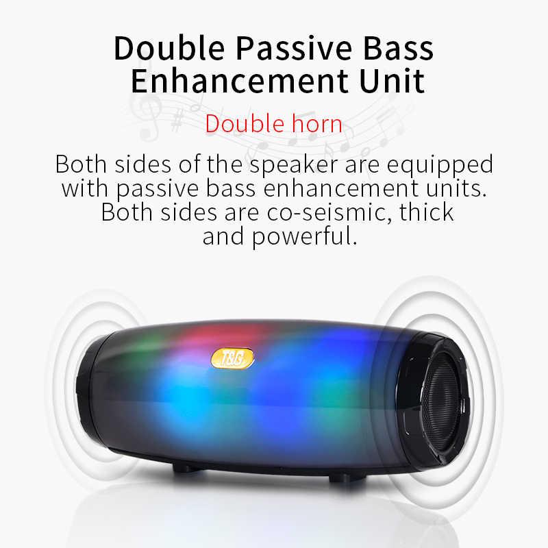 Led の Bluetooth スピーカーポータブル屋外スピーカーワイヤレスミニ列 3D 5 ワットステレオ音楽サラウンドサポート FM TF カード低音ボックス