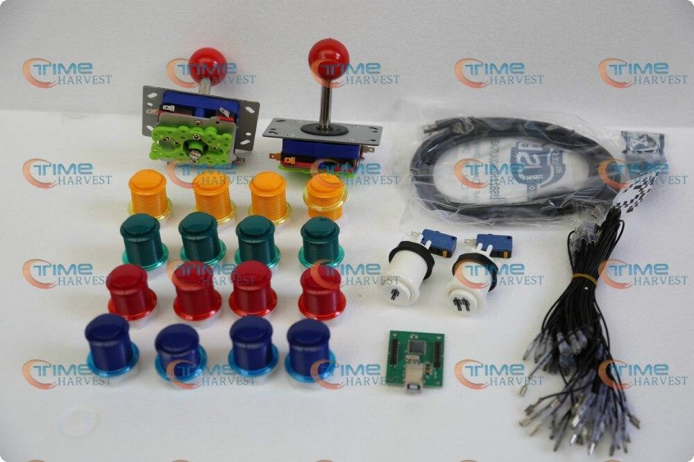 Arcade dalys Paketų komplektas Su Joystick, Mygtukais, Mikrojungikliu, 2 grotuvais USB su Jamme lenta, kad sukurtumėte savarankišką Arcade mašiną