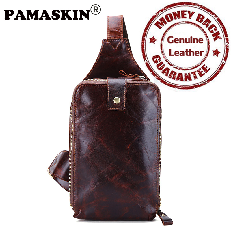 PAMASKIN European and American Retro Genuine Leather Men Messenger Bags 2017 Brand Cross body Shoulder Bag