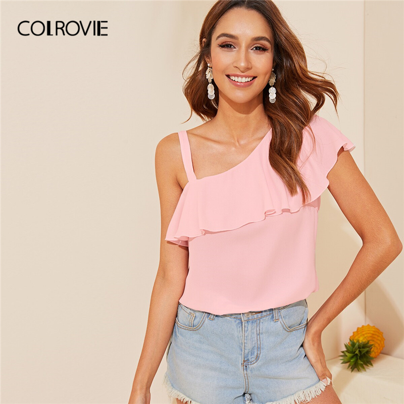 COLROVIE Pink Solid Asymmetrical Neck Ruffle Overlay Girly Top Women   Blouse     Shirt   2019 Summer Clothing Korean Ladies   Shirts
