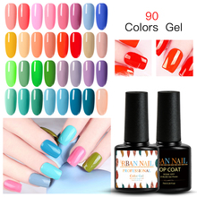 RBAN NAIL Gel Nail Polish 7ml Soak Off UV Varnish Pure Color Candy lak Manicure Nude Pink Purple Blue Lacquer