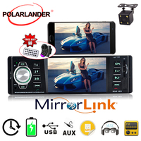 1 Din Car Radio Stereo MP4 Bluetooth Remote Control AUX USB TFT SD MMC AM FM EQ With Camera Rearview Parking 5 Languages
