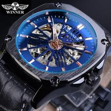 Winner Casual Mechanical Watch Men Blue Skeleton Automatic Luminous Hand Leather Band Clock Man Sport Fashion Wristwatch Relogio