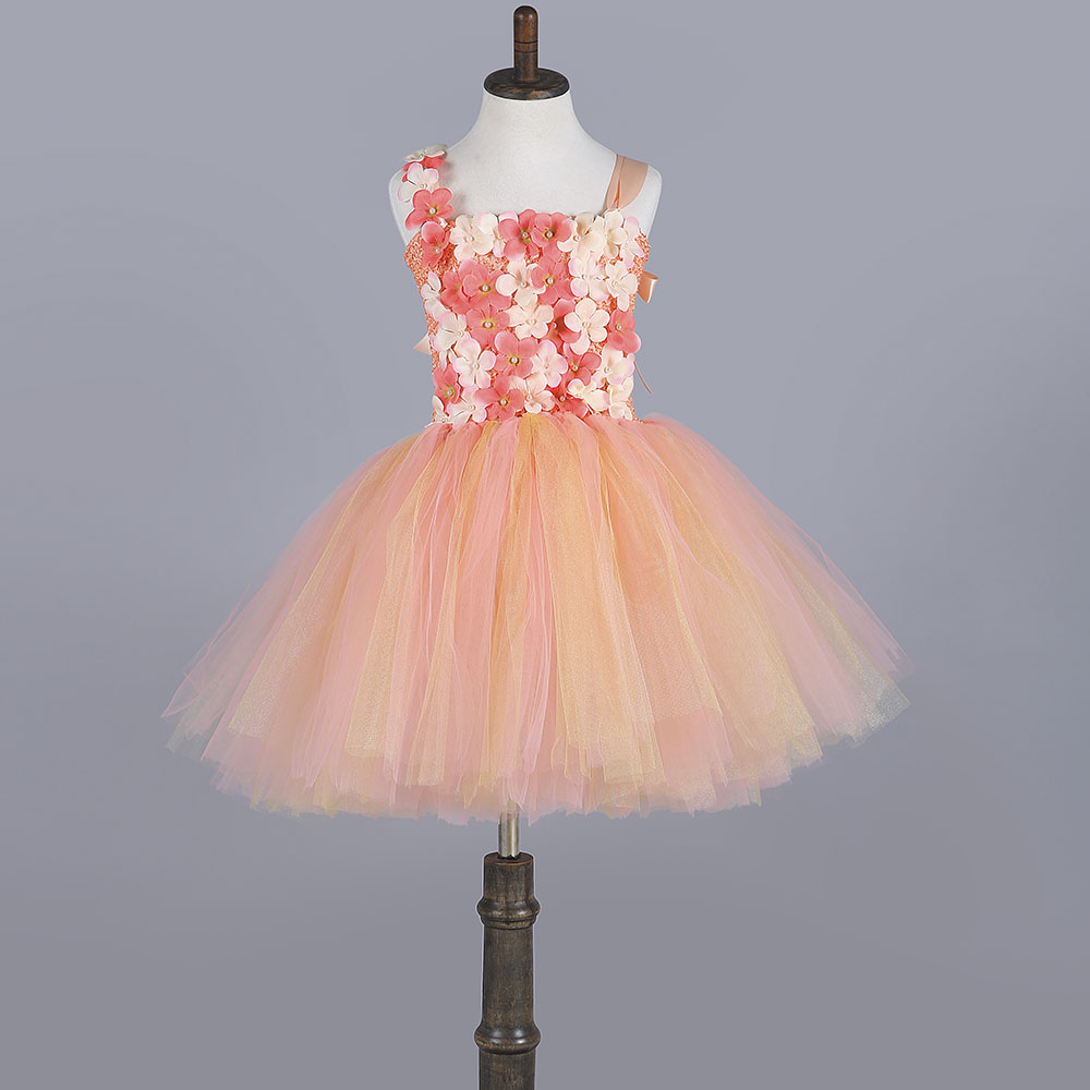 Champagne and Peach Girls dress for Party Wedding Flower Gold Baby Girl Tutu Dress 2-8 years Children Girl Clothing PT252 2016 summer children s clothing champagne girls tutu dress for party lace layer back hollow kids dress for baby girls a121