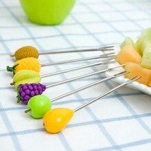 6pcs / set mini stainless steel fruit forks salad dessert cake Fruit forks for children decorative plastic sign,kitchen Tools.