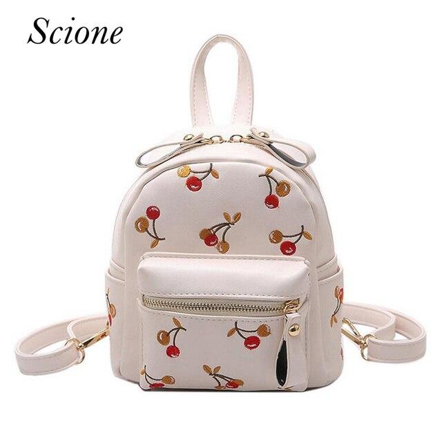 ba347a4da2 Fashion Cute Mini Women PU Leather Backpack Embroidery Cherry Teenage Girls School  Bag Female Travel Shoulder Bag Mochila 131600