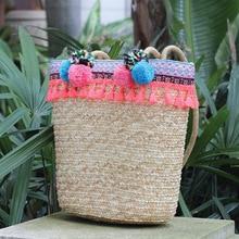 New 2018 Summer Beach Straw Basket Totes Bag Large Big Bucket Bags with Tassels Pom Color Balls Bohemian Vacation Big Handbag цена и фото