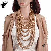 Long Chain Luxury Gold Pearl Beads Choker Statement Necklace And Earrings Sets For Women Large Pearl
