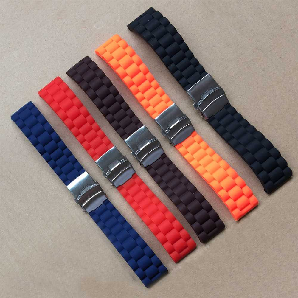 1pcs 16 18 20 22 24 Mm New Silicone Rubber Stripe Watch Strap Fashion Watch Band Deployment Buckle Waterproof BLack Watchband