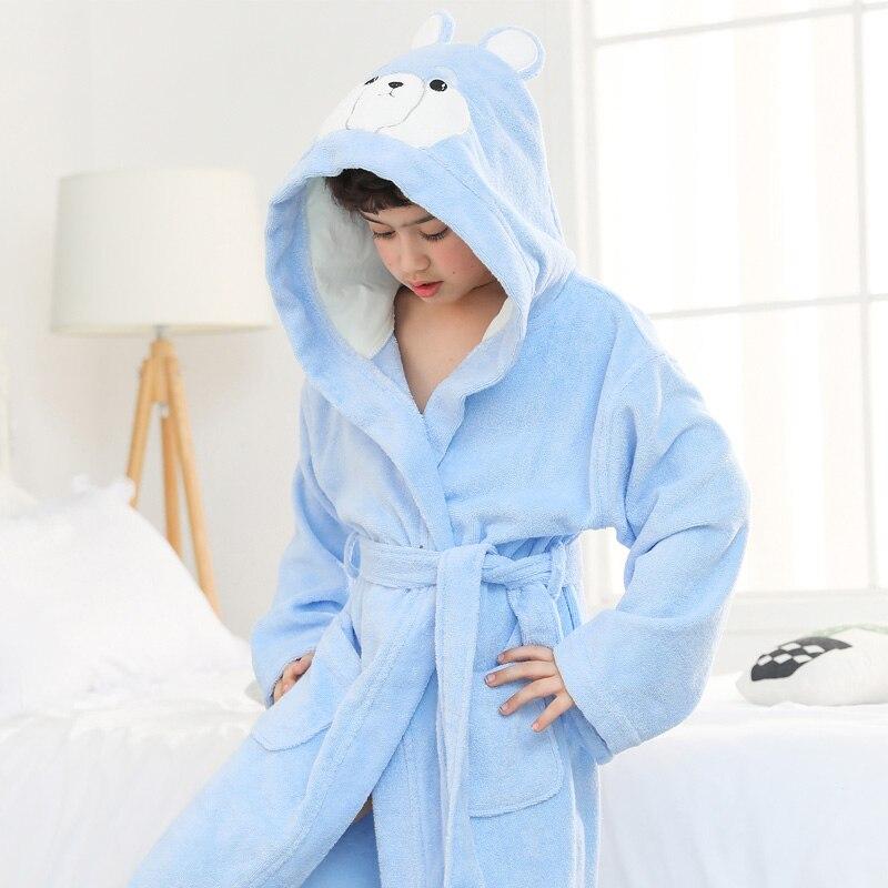 Enfants Robes capuche pyjamas épais coton serviette polaire ours vêtements de nuit Robes pour 2-16 ans filles garçons bébé peignoirs