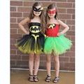 Últimas bebé super hero tutu dress muchacha de los niños tutus vestido de batman y robin traje de verano para la fiesta de halloween/birthbay