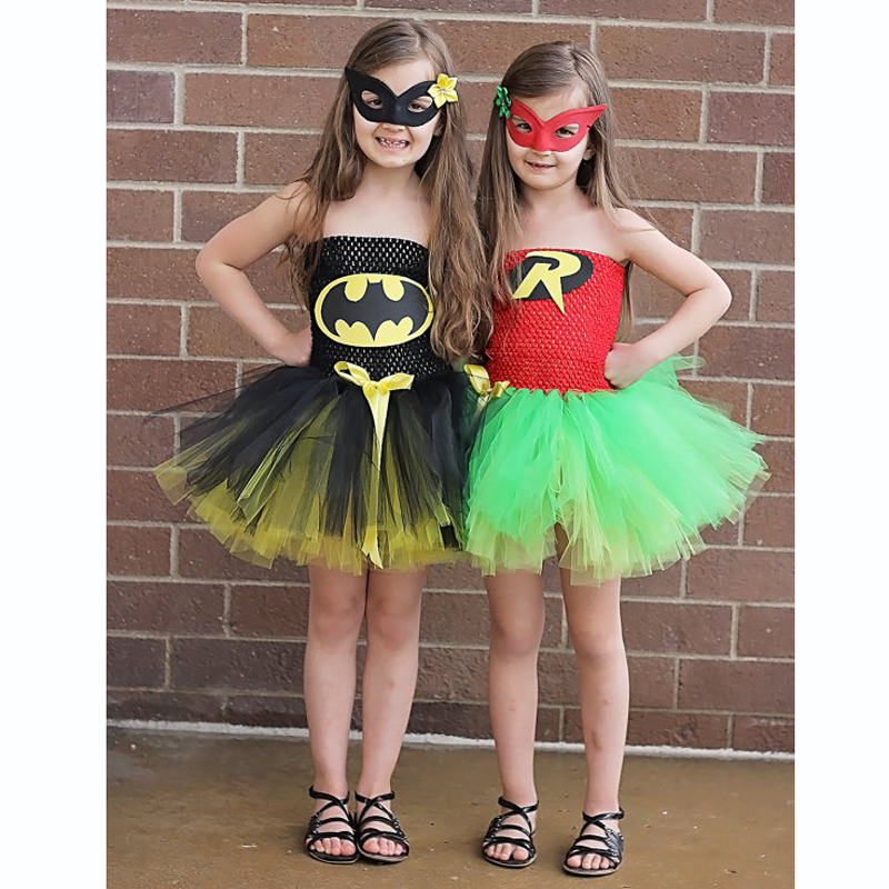 latest baby girl super hero tutu dress children girl halloween costume summer dress batman and robin - Halloween Tutu Dress