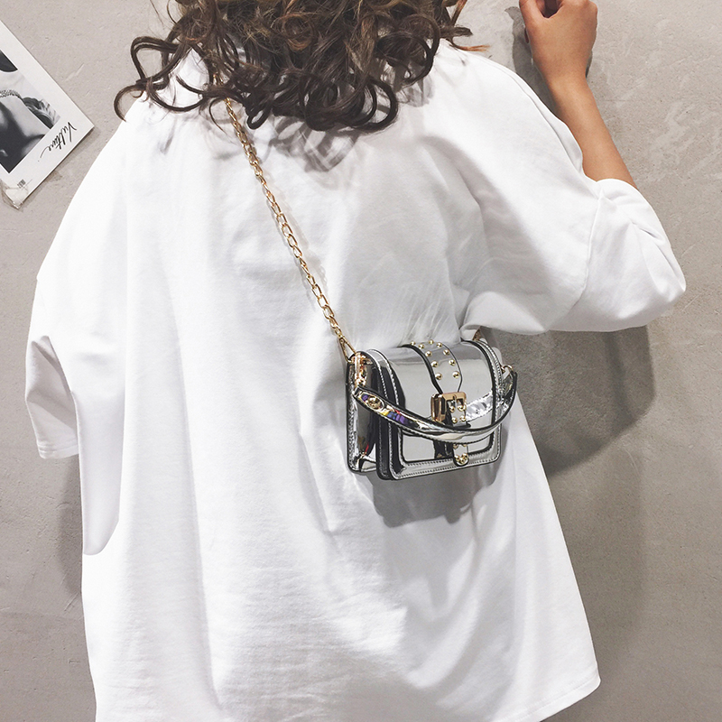 Мини сумка тоут 2019 летняя новая качественная женская дизайнерская сумка из лакированной кожи с замком и заклепками на цепочке сумка через плечо кошельки