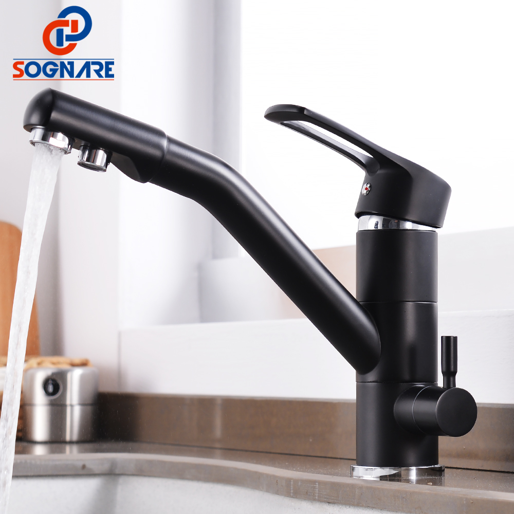 SOGNARE Black Matte Kitchen Faucet Mixer Tap 360 Degree Rotation Drinking Water Faucet Brass Purify Faucet For Kitchen Crane Tap