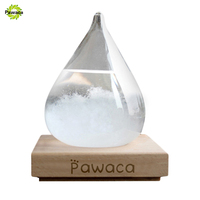 Transparent Crystal Water Drop Weather Forecast Bottle Storm Glass Liquid Wood Base Ornament Home Wedding Decor