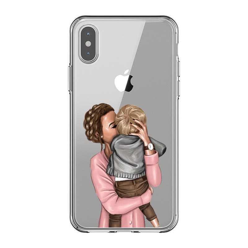 ファッション黒茶色の髪赤ちゃんのママガールの女王 01 ケース iphone X XS 最大 XR 8 7 6 6s プラス 5 5s 、 se シリコーン女性電話カバー