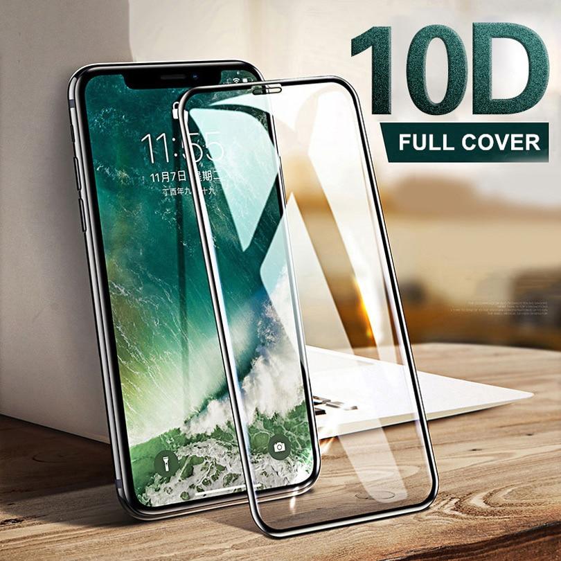Купить со скидкой NAGFAK 10D Protective Glass on the For iPhone X XR XS XS MAX glass full cover iPhone X 10 Screen Pro