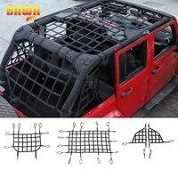 BAWA Car Top Roof Cover Multifunctional Net Side Body Trunk Cargo Net for Jeep Wrangler JK 2007 2017 Car Styling Install Net
