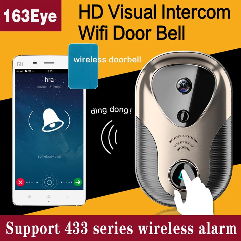 Video Door Intercom WiFi IP Camera System Support 433 Series Wireless Alarm Doorbell  SD Card HD Visual WiFi Door Bell 2PCS/Lot