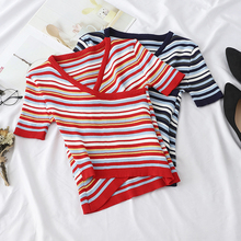 цена на 2019 Spring Summer Striped knit T Shirt Women Casual Short Sleeves Top basic Slim knitted T Female  V-Neck Cross T-shirt G617