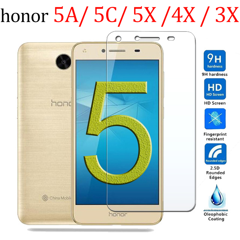 Protective Glass On For Honor 5a Honor 5c Screen Protector 5x 4x 3x 3c For Huawei Honor A5 C5 X5 Tempered Glas 5 A C X 9H Film