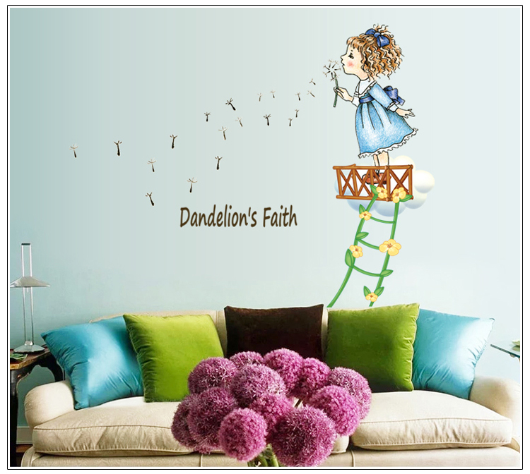 Blowing Dandelion Girl Wall Sticker Cartoon For Kids Room ...
