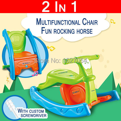 2015 New 2 In 1 Chair Music Fun Baby Rocking Horse Toy Multifunctional  Cartoon Portable Baby