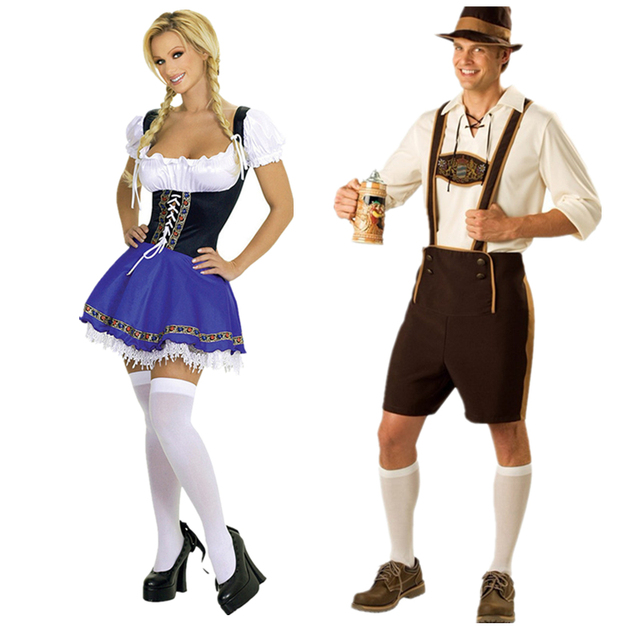 Vocole S XXXL German Oktoberfest Men Bavarian Lederhosen Beer Girl Costume Plus Size Halloween ...