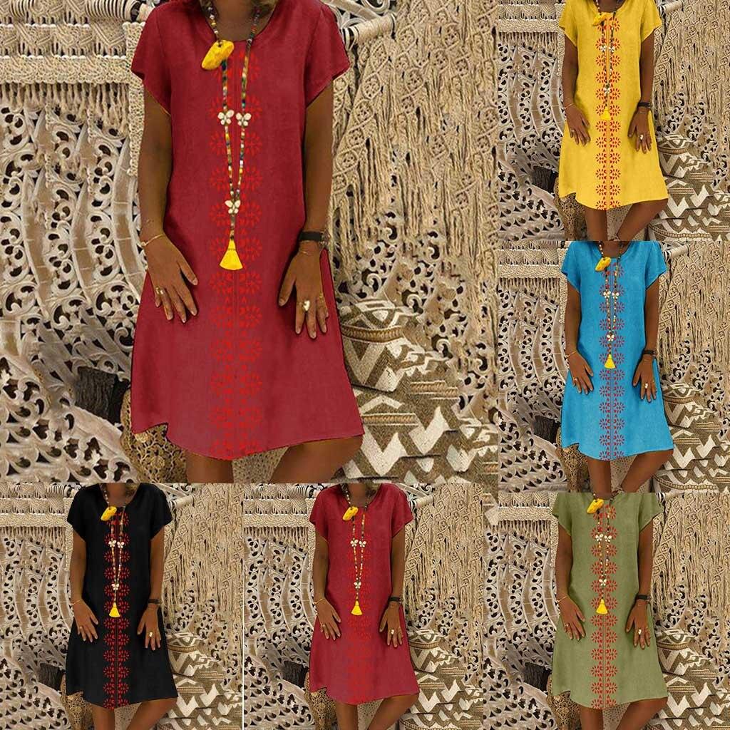 HTB1VgAhO3HqK1RjSZFEq6AGMXXaV Cotton And Linen women's clothing O-Neck summer dresses and sundresses Printed Plus Size Ladies dresses summer sukienka #G6