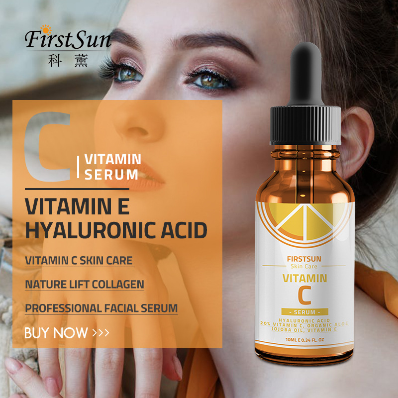 Firstsun New Vitamin C Hyaluronic Acid Face Serum Skin Serum Skin Care Essence Anti Aging Fade Dark Spot Wrinkle Hydrating TSLM1