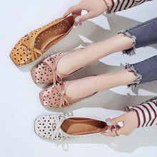 New Women Flats Shoes Ballet Fashion Slip On Cut Outs Flat Sweet Hollow Summer Female Bow Peas Boat