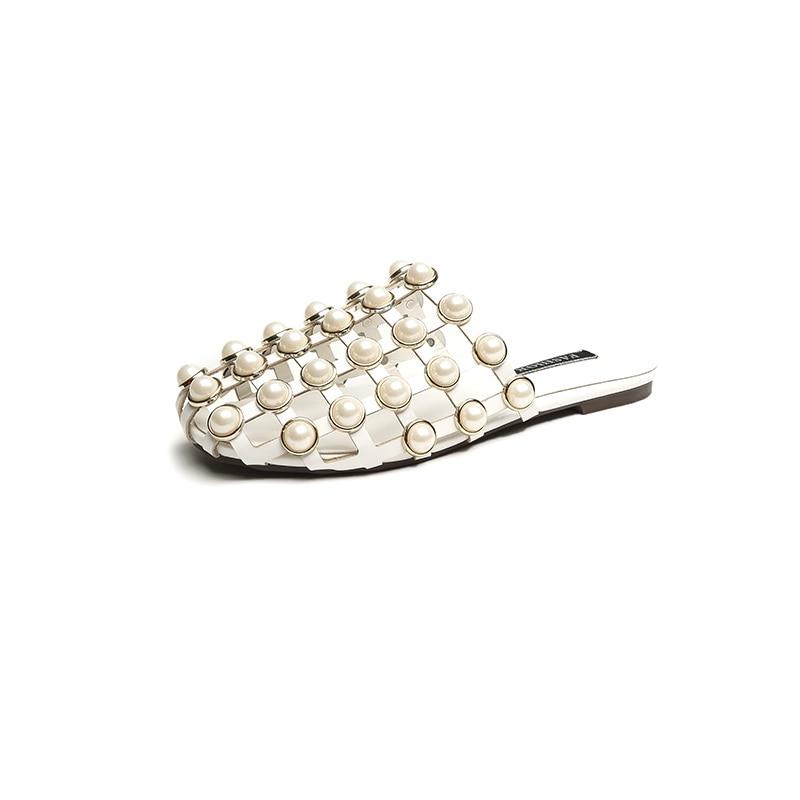 dbd5c04ae48569 2018 Fashion Leather Casual Mules Luxury Slip On Beading Caged Women  Studded Flat Slide Sandals Shoes Women Shoes-in Women s Sandals from Shoes  on ...