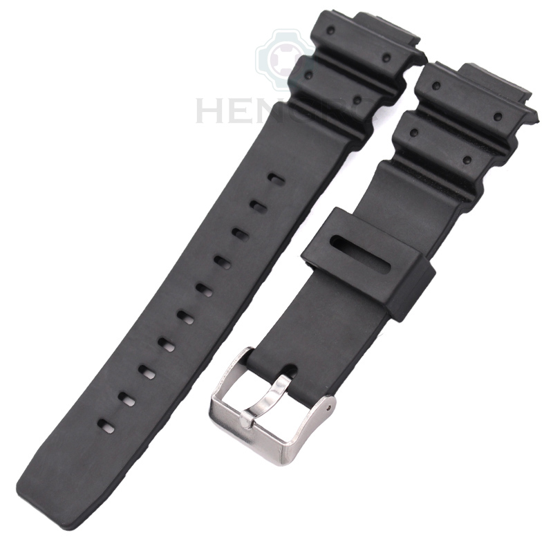 Silicone Watch Strap Band Men Black Sports Diving Rubber Watchbands Stainless Steel Buckle Accessories For Casio 9052 Series 20mm silicone rubber watchbands men women sport waterproof watch band strap black red blue walnut metal buckle accessories