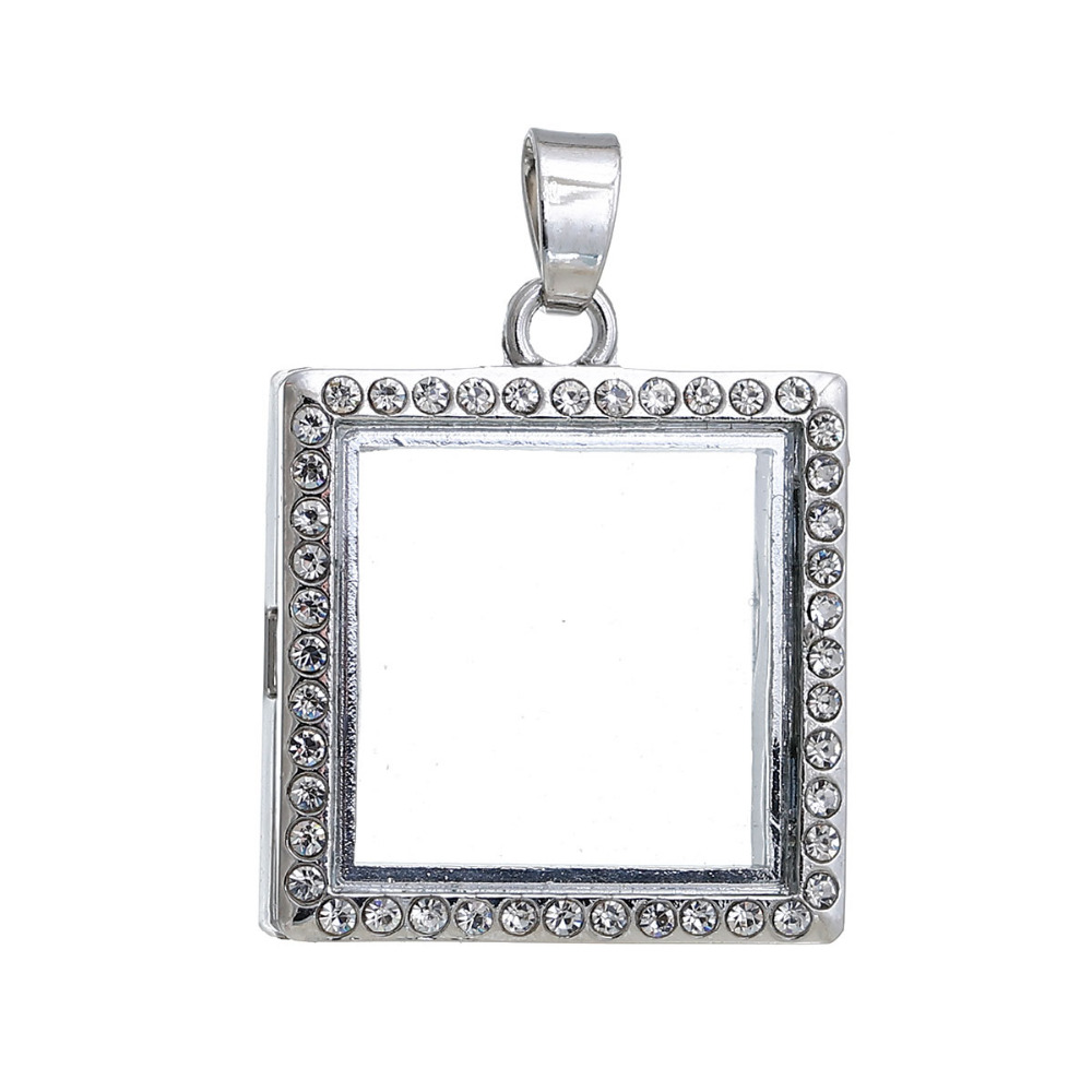 lockets dried women natural gold pendant flower rare elegant clear charm square itm necklace glass
