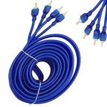 Czysta miedź 5 metrów Audio Wzmacniacz subwoofera połączenia o wysokiej gęstości ekranowanie podwójnie ekranowany Car Audio Audio kabel niebieski tanie tanio PolarLander Linia róg