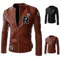 Черный коричневый Оригинальный Персонализированные вышитые буквы 2016 весна пальто мужские кожаные куртки на продажу Мотоцикл одежды M-2XL