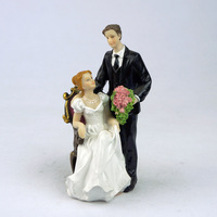 Pareja Bride & Groom Wedding Cake Topper Figura de Resina de La Torta De Boda Aniversario Suministros