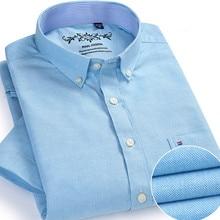 Летние Для мужчин Оксфорд Платье рубашка короткий рукав социальной рубашка Slim белого и синего цвета camiseta masculina Формальные кнопку рубашка Рабочая одежда