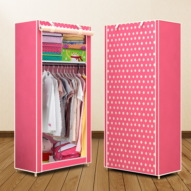 Simple Folded Students Small Wardrobe Combination DIY Assembly Wardrobe Single Clothing Storage Cabinet Dustproof Cloth Closet
