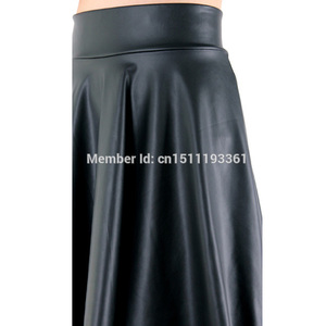 Image 5 - free shipping new high waist faux leather skater flare skirt casual mini skirt knee length solid color black skirt S/M/L/XL