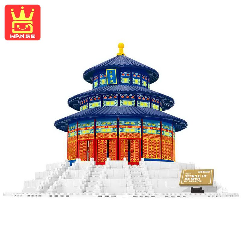 WANGE Beijing Forbidden City 1052Pcs World Architecture DIY Large Action Building Block Model Bricks Toys For Children Birthday mr froger loz diamond block easter island world famous architecture diy plastic building bricks educational toys for children